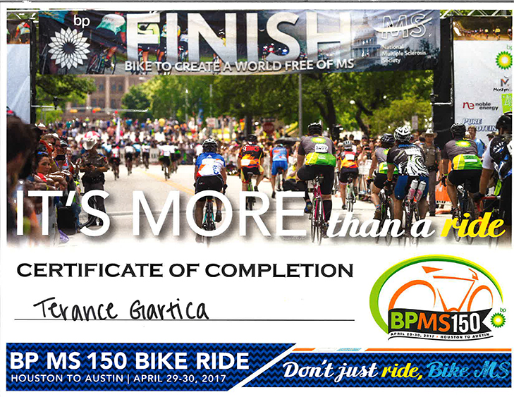 BP MS 150 Bike Ride Certificate of Completion